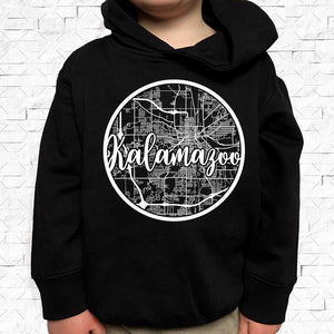toddler-sized black hoodie with Kalamazoo hometown map design