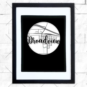 Close-up of Broadview hometown map design in black shadowbox frame with white matte