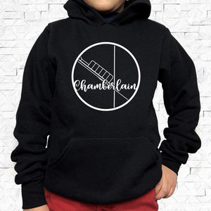 youth-sized black hoodie with white Chamberlain hometown map design