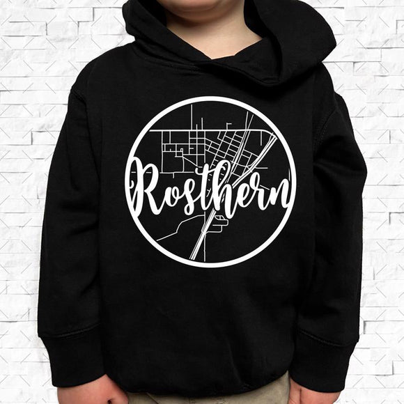 toddler-sized black hoodie with Rosthern hometown map design