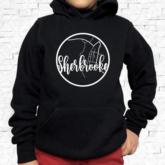 youth-sized black hoodie with white Sherbrooke hometown map design