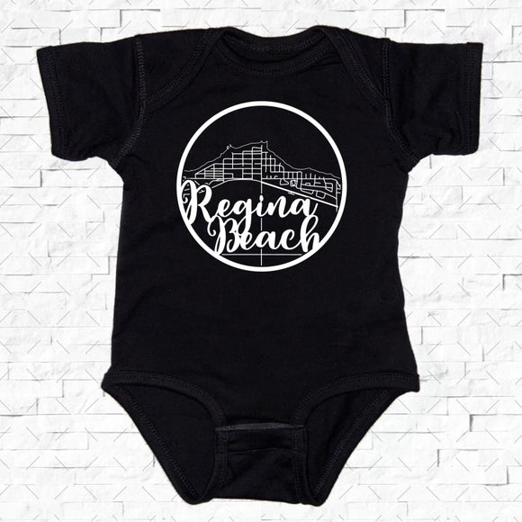 baby-sized black short-sleeved onesie with Regina Beach hometown map design