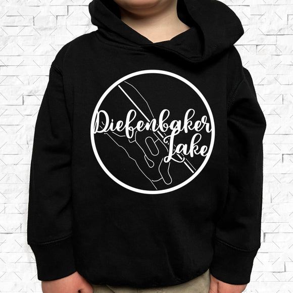 toddler-sized black hoodie with Diefenbaker Lake hometown map design