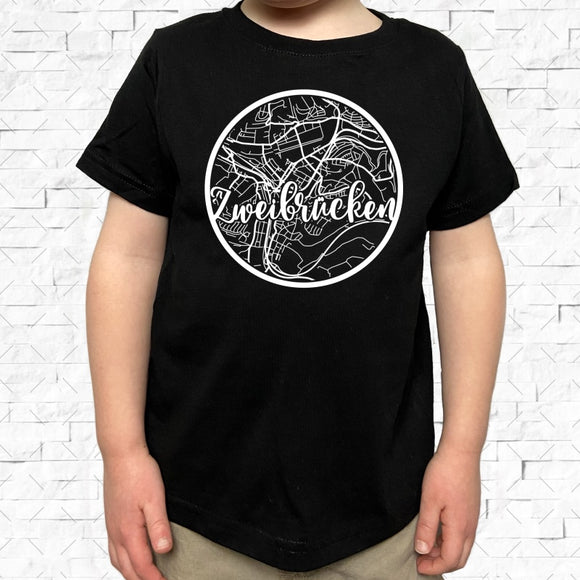 toddler-sized black short-sleeved shirt with white Zweibrucken hometown map design