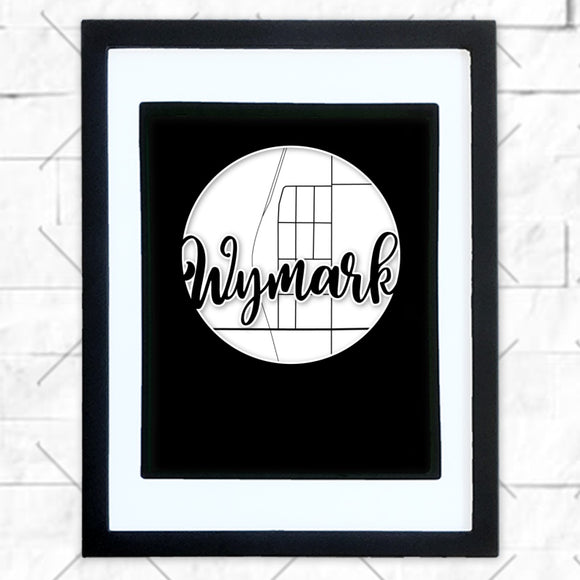 Close-up of Wymark hometown map design in black shadowbox frame with white matte