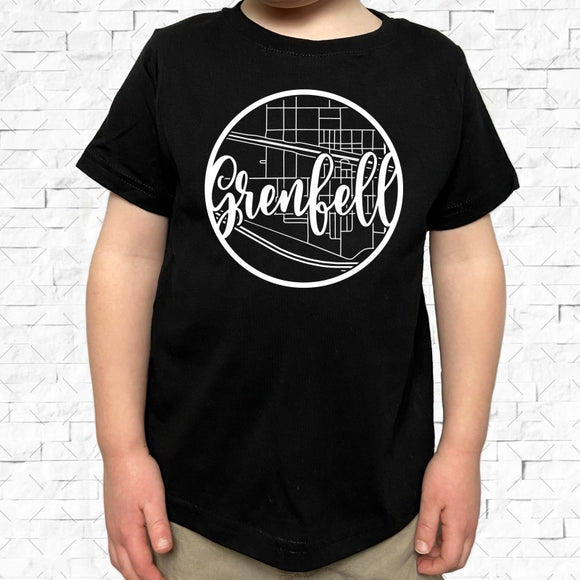 toddler-sized black short-sleeved shirt with white Grenfell hometown map design