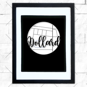 Close-up of Dollard hometown map design in black shadowbox frame with white matte