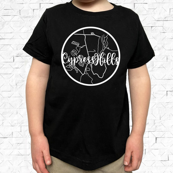 toddler-sized black short-sleeved shirt with white Cypress Hills hometown map design