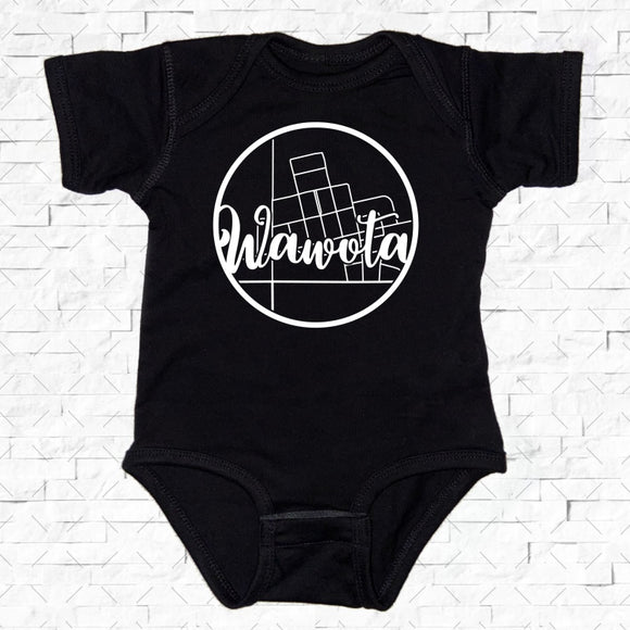 baby-sized black short-sleeved onesie with Wawota hometown map design