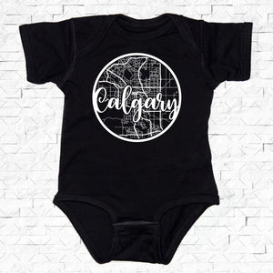 baby-sized black short-sleeved onesie with Calgary hometown map design