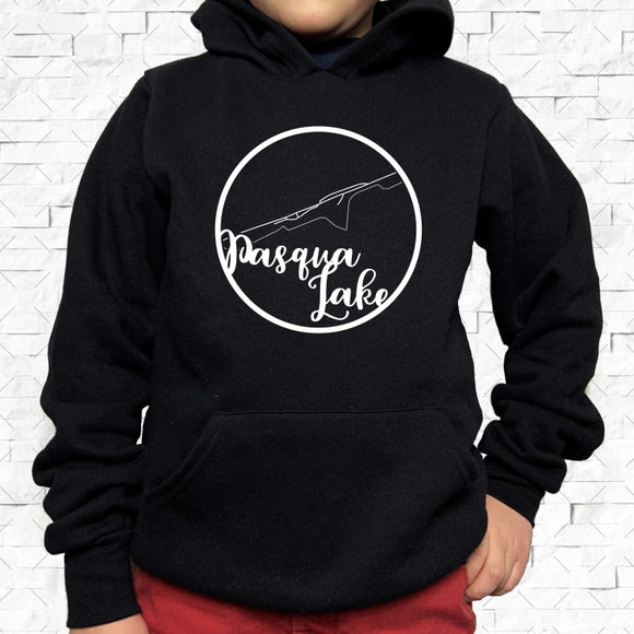 youth-sized black hoodie with white Pasqua Lake hometown map design