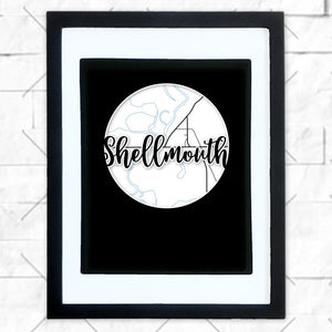 Close-up of Shellmouth hometown map design in black shadowbox frame with white matte