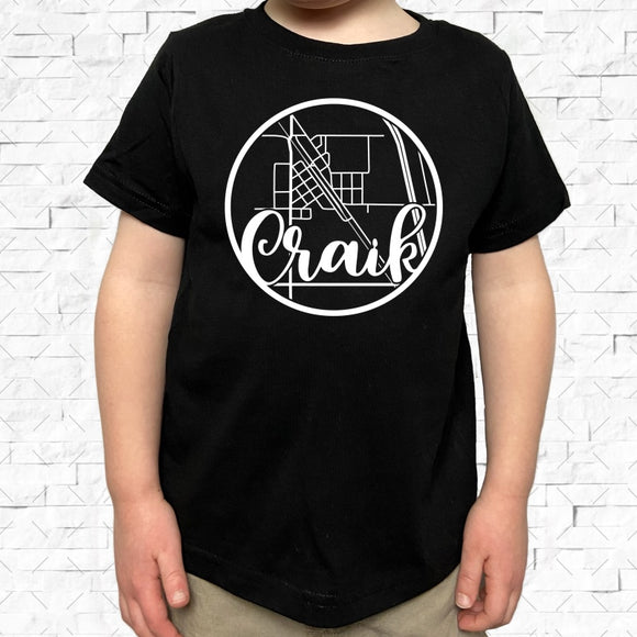 toddler-sized black short-sleeved shirt with white Craik hometown map design