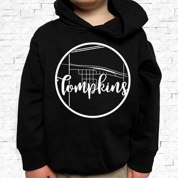 toddler-sized black hoodie with Tompkins hometown map design