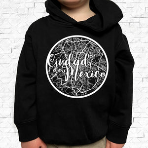 toddler-sized black hoodie with Mexico City hometown map design