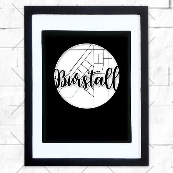 Close-up of Burstall hometown map design in black shadowbox frame with white matte