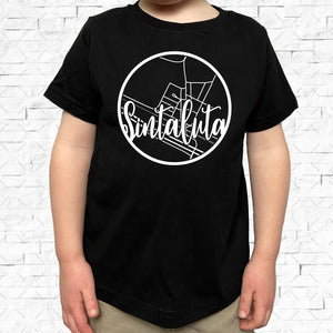 toddler-sized black short-sleeved shirt with white Sintaluta hometown map design