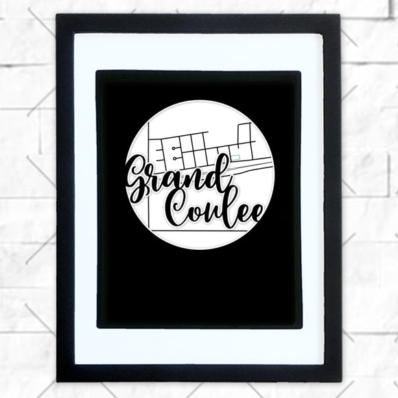 Close-up of Grand Coulee hometown map design in black shadowbox frame with white matte