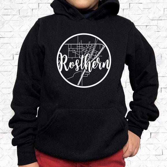 youth-sized black hoodie with white Rosthern hometown map design