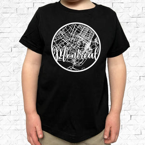 toddler-sized black short-sleeved shirt with white Montreal hometown map design