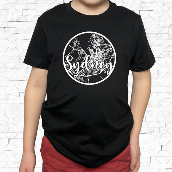 youth-sized black short-sleeved shirt with white Sydney hometown map design