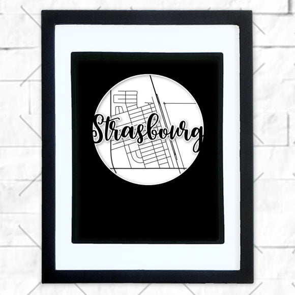 Close-up of Strasbourg hometown map design in black shadowbox frame with white matte