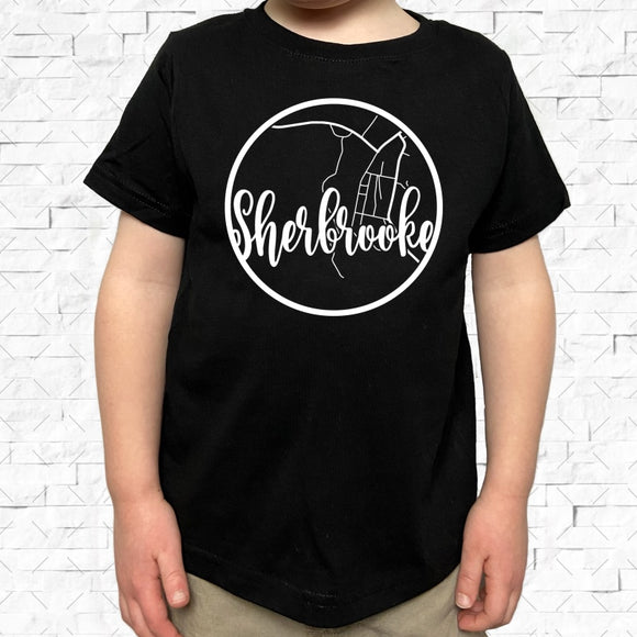 toddler-sized black short-sleeved shirt with white Sherbrooke hometown map design