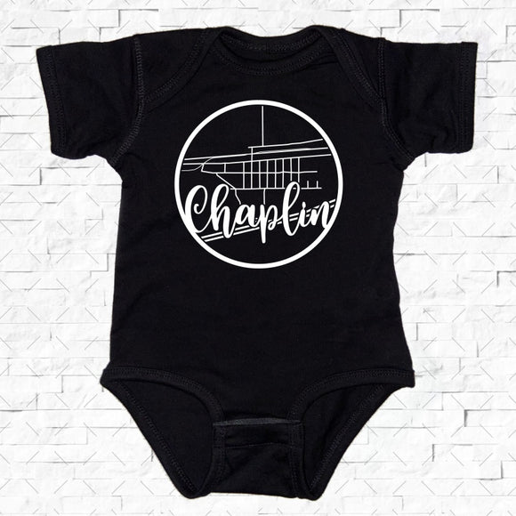 baby-sized black short-sleeved onesie with Chaplin hometown map design
