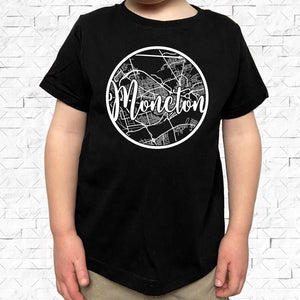 toddler-sized black short-sleeved shirt with white Moncton hometown map design
