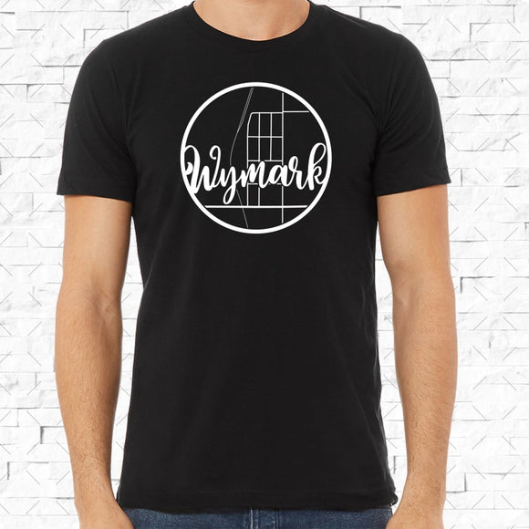 adult-sized black short-sleeved shirt with white Wymark hometown map design