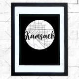 Close-up of Kamsack hometown map design in black shadowbox frame with white matte