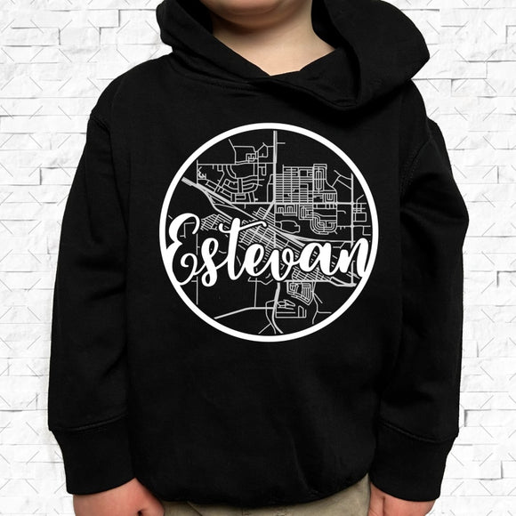 toddler-sized black hoodie with Estevan hometown map design