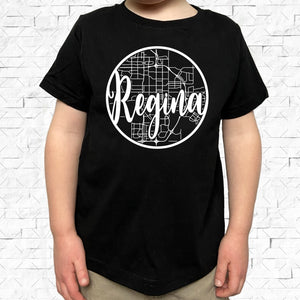 toddler-sized black short-sleeved shirt with white Regina hometown map design