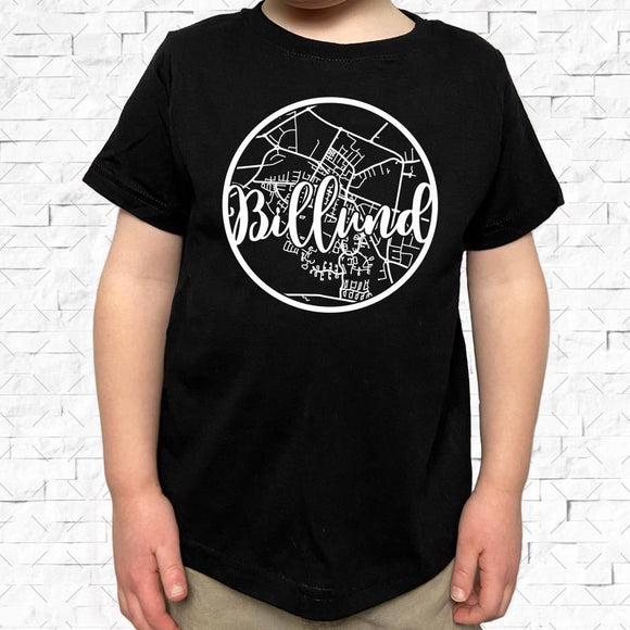 toddler-sized black short-sleeved shirt with white Billund hometown map design