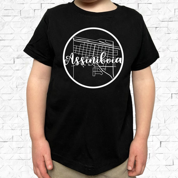 toddler-sized black short-sleeved shirt with white Assiniboia hometown map design