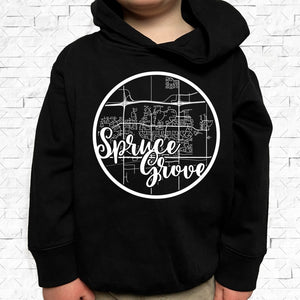 toddler-sized black hoodie with Spruce Grove hometown map design