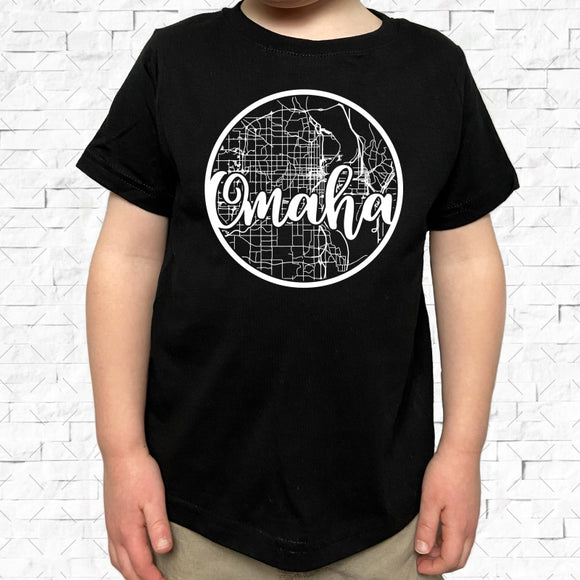 toddler-sized black short-sleeved shirt with white Omaha hometown map design
