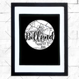Close-up of Billund hometown map design in black shadowbox frame with white matte