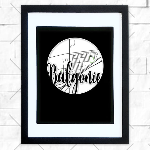 Close-up of Balgonie hometown map design in black shadowbox frame with white matte