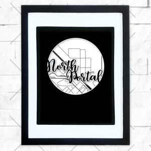 Close-up of North Portal hometown map design in black shadowbox frame with white matte