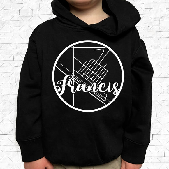 toddler-sized black hoodie with Francis hometown map design
