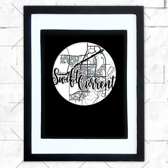 Close-up of Swift Current hometown map design in black shadowbox frame with white matte