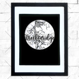 Close-up of Breckenridge hometown map design in black shadowbox frame with white matte