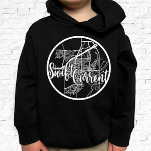 toddler-sized black hoodie with Swift Current hometown map design