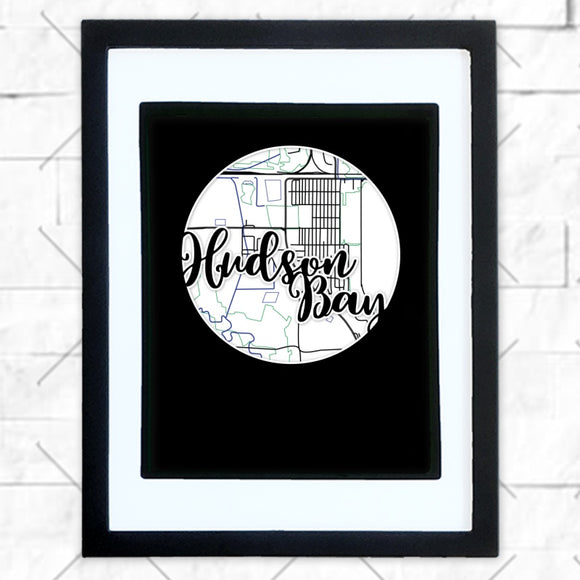 Close-up of Hudson Bay hometown map design in black shadowbox frame with white matte