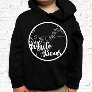 toddler-sized black hoodie with White Bear hometown map design