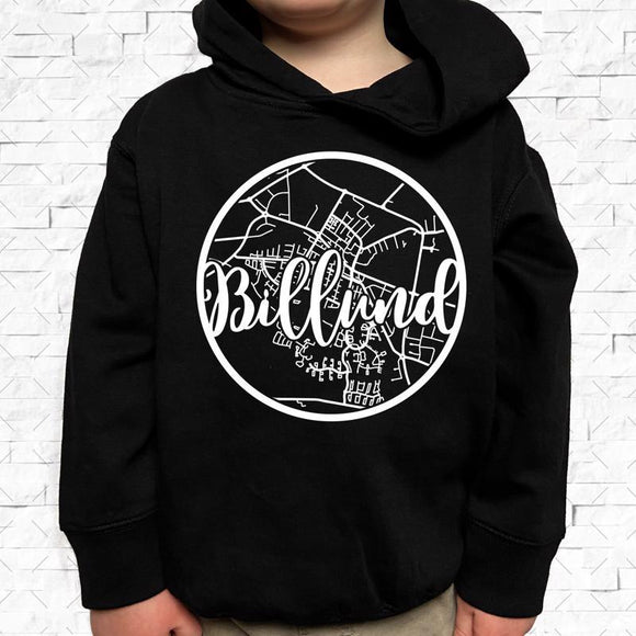 toddler-sized black hoodie with Billund hometown map design