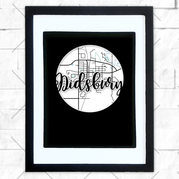 Close-up of Didsbury hometown map design in black shadowbox frame with white matte