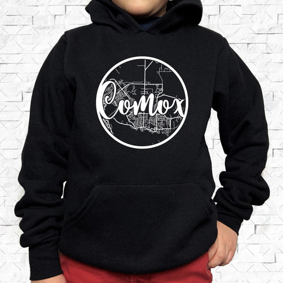 youth-sized black hoodie with white Comox hometown map design