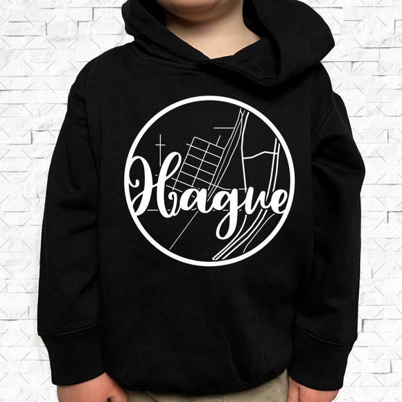 toddler-sized black hoodie with Hague hometown map design